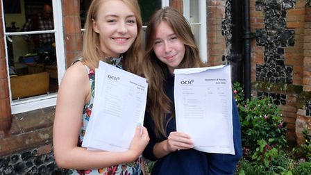 Esme Holt and Clemency Wood from Thetford Grammar School with their GCSE results