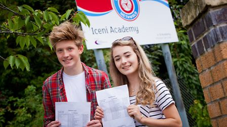 Students at Iceni Academy on GCSE results day