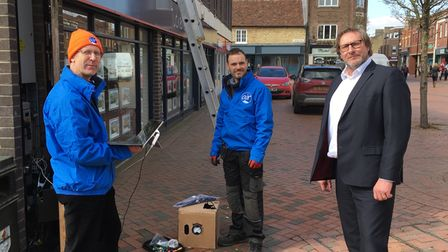 Mayor James Palmer with Air Broadband team handling Ely Wifi project
