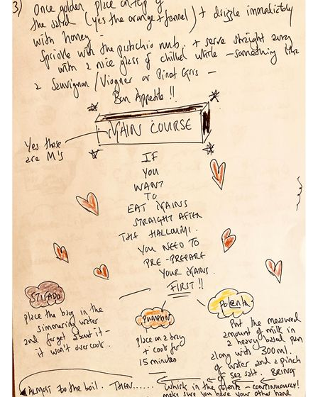 Hand written instructions for cooking one of chef Maria Elia's meals