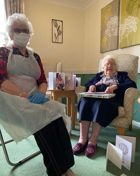 """Former army chef Kath Rhodes enjoyed a """"really wonderful"""" 100th birthday celebration at The Gables Care Home in Chatteris."""