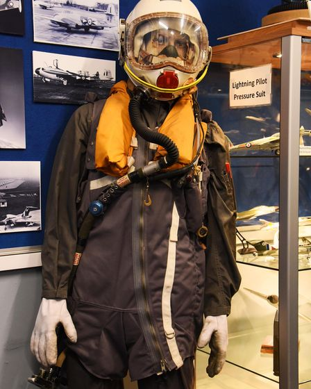 A Lightning aircraft pilot's pressurised suit in the new RAF Coltishall Heritage Centre. Picture: DE