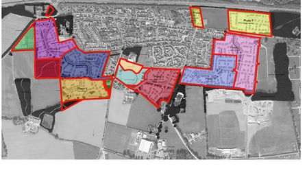 A graphic showing all five phases of the plan by Persimmon Homes Anglia to build 780 homes around Easton.
