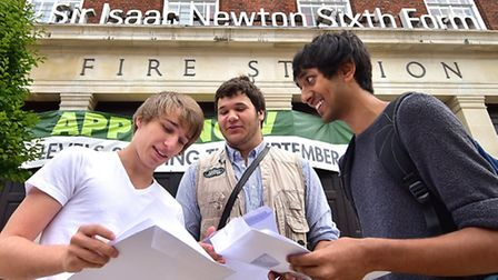 A-levels results day at Sir Isaac Newton Sixth Form. Left to right, Jordan Potter. Charl Retief and