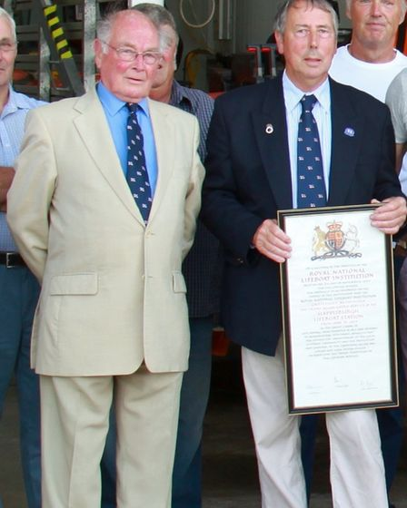 Jack Hall, left, withCedric Cox. Mr Hall died earlier this year after many years volunteering with the Happisburgh RNLI.
