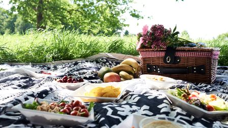 A picture of picnic food on a blanked