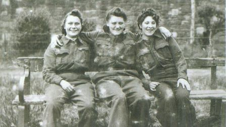 Kitty (right) with her fellow Women's Auxiliary Air Force servicewomen.