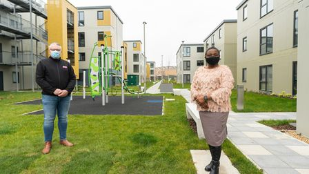 Cllr Sade Bright and Be First's Darren Cutts at the Cook Road development in Dagenham.