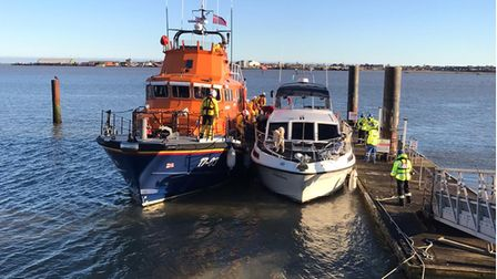 Two people and their dog were rescued by RNLI Harwich