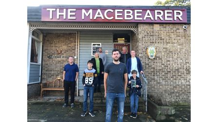 Supporters outside the Macebearer pub which they are fighting to keep open Picture: ELLA WILKINSON