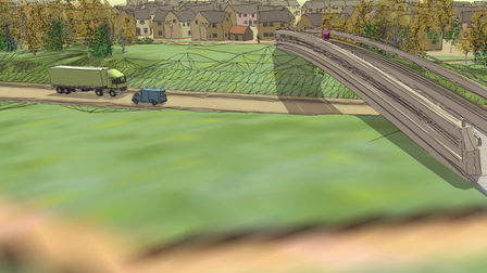 An artist's impression of a footbridge crossing the Long Stratton bypass