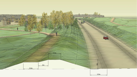 How the Long Stratton bypass could look, with a footbridge in the distance