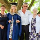 Abigail Hensley pictured with her mum Jane Eaton, Paul Eaton and nanny Shirley Bardwell. Picture: Da