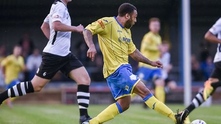 Action from King's Lynn Town V Cambridge City at the Walks - Lynn's Jake Speight on the ball. Pictur