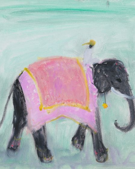 Elephant in Pink byAnn Shrager showing at Aldeburgh's Thompson Gallery