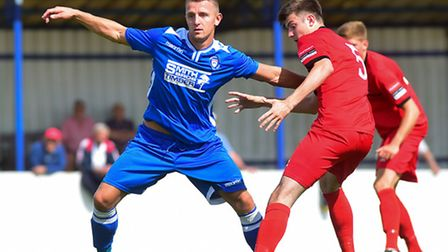 Jake Reed scored twice for Lowestoft against AFC Telford United. Picture: Nick Butcher
