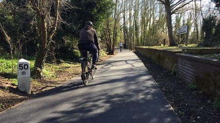 A cyclist on the upgraded section of Norwich'sMarriott's Way between Gunton Lane and Hellesdon Road.
