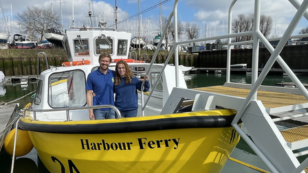 Owners Chris and Lucy Zemann on the repaired Harwich Harbour Ferry.