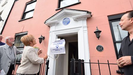 Unveiling of a blue plaque to remember Gorleston's Jubilee Cottage Hospital on the High Street.Barba