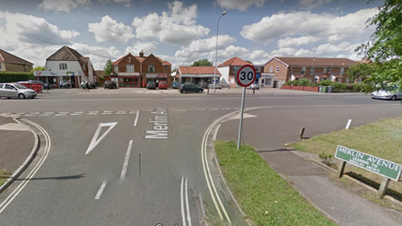 The row of shops on Wroxham Road in Sprowston opposite Merlin Avenue where no entry signs have been installed for one exit