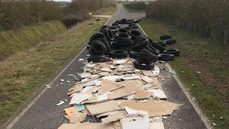 One witness said there could have been as many as 50 tyres dumped in the road in Caple St Mary
