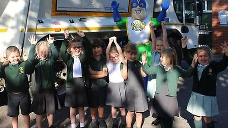 Michael Recycle spreads the recycling message around East Cambridgeshire schools