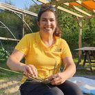 Steph at a Willow weaving workshop at The Hive with the Coddiwomplers inOctober 2020