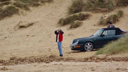 Kristen Stewart, who plays Princess Diana,on Hunstanton beach for the filming of 'Spencer'