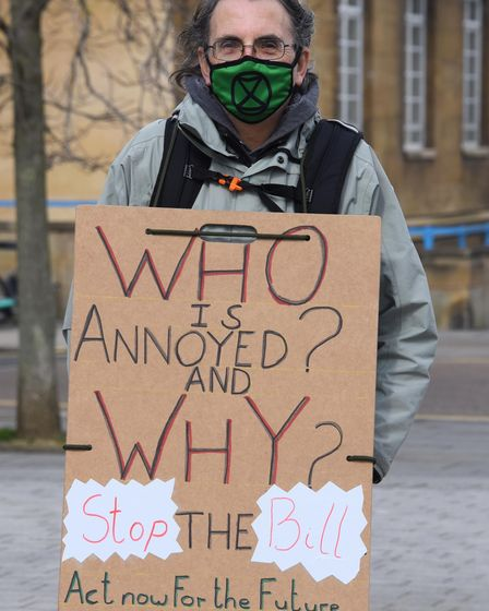 Malcolm, one of the Extinction Rebellion protesters, at the Forum in Norwich. Picture: DENISE BRADLE