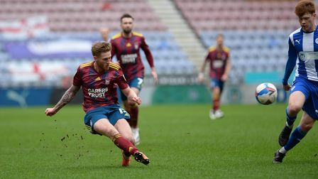 Teddy Bishop in action during the first half at Wigan