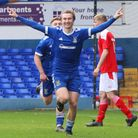 Albie Armin celebrates his goal in the Blues 3-1 win over Swindon Town in the FA Youth Cup