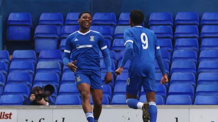 Edwin Agbaje celebrates his equalising goal against Swindon Town