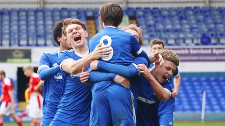 Young Blues celebrates their third goal to progress to the next round of the FA Youth Cup