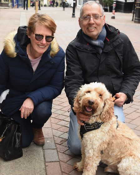 Pauline and Kavas Arjani with their dog Aristotle in Bury St Edmunds said they were looking forward
