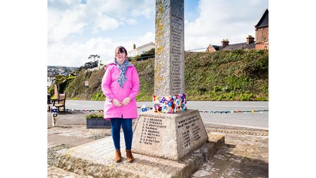 Kim Holmes, whose group created crocheted flowers for the war memorial in Budleigh