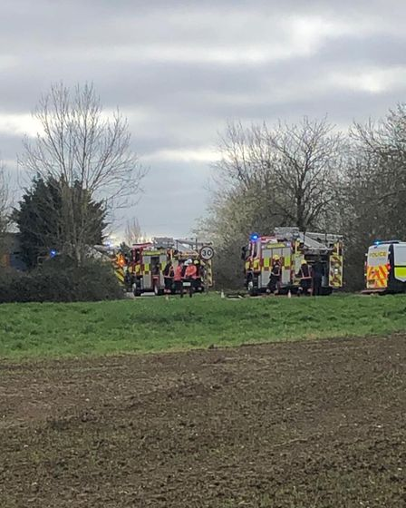 Firefighters remain at the scene of a major fire at Datashredders in Wimblington.