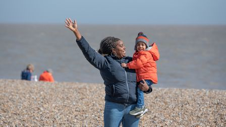 Thelma and Erick having fun in the sunshine in Aldeburgh. Picture: Sarah Lucy brown