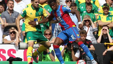 Robbie Brady in action on his Norwich City debut against Crystal Palace, battling with Wilfried Zaha