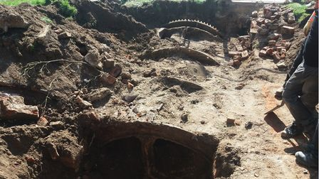 The sinkhole opened up in Hadleigh and a number of interesting discoveries relating to the old Toppesfield Mill