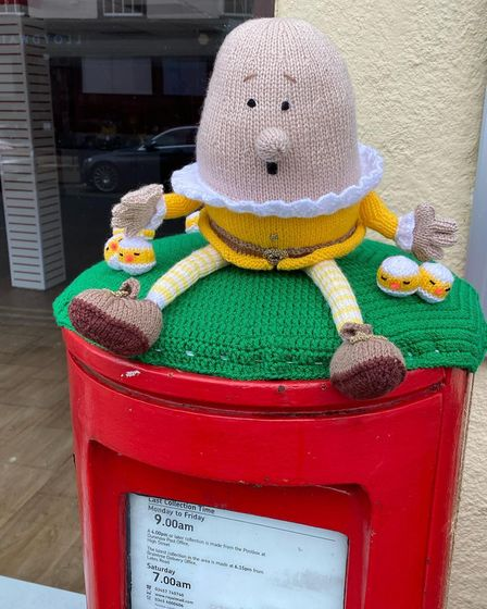 Post box in Great Dunmow decorated in the Easter spirit