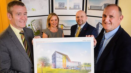 Launch of the project last year. From left, Nwes CEO Kevin Horne, Jemma Curtis, Ostap Paparega and b