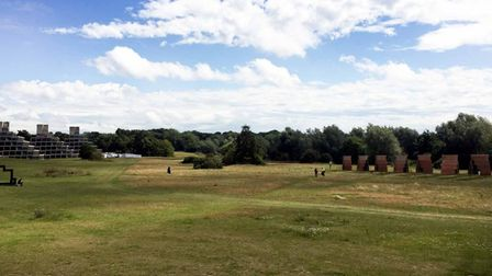 Photomontage image of what Anthony Caro's sculpture will look like from the Sainsbury's Centre