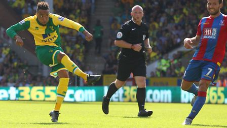 Nathan Redmond rifled Norwich City's goal in a 3-1 Premier League defeat to Crystal Palace. Picture