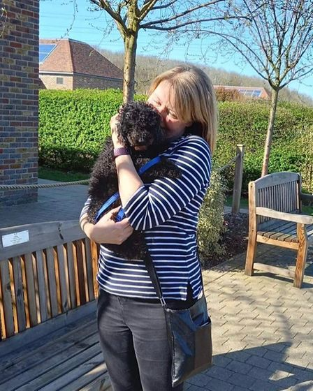 Romea Cafasso was reunited with her toy poodle named Jet at Basildon Dogs Trust.