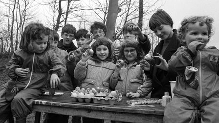 Children at the Museum of East Anglian Life in April 1985