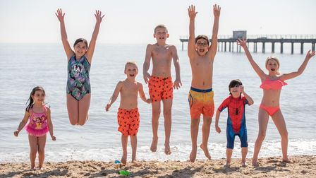 Kids cooling off in the sea in Felixstowe as temperatures soared. Picture: Sarah Lucy Brown