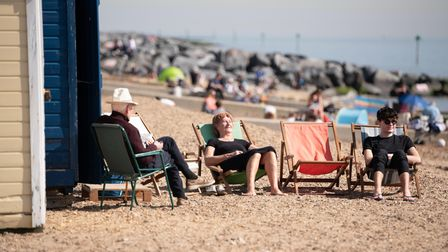 Beach goers making the most of the sunshine in Felixstowe. Picture: Sarah Lucy Brown