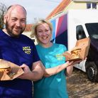 Sally Campion-Jones and Shaun Kent with their food truck for their new takeaway business, Dirty Frye