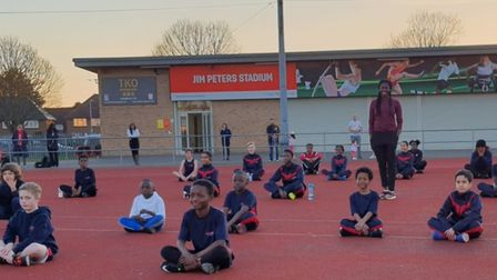Former Olympic championChristine Ohuruogu with Be Fit Today Track Academy athletes at Jim Peters Stadium in Dagenham