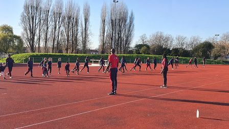 BFTTA head coach TJ Ossai and Olympic championChristine Ohuruogu put the young athletes through their paces.
